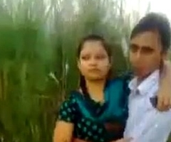 Desi Couple Concern Increased by Kissing In Fields Outdoor