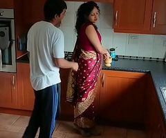 Red saree Bhabhi caught observing porn seduced and fucked off out of one's mind Devar dirty hindi audio desi chudai leaked scandal sextape bollywood POV Indian