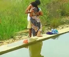 Hot mallu aunty boobs pressing outdoor