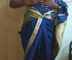 des indian horny cheating tamil telugu kannada malayalam hindi wife vanitha wearing blue colour saree  akin to big boobs and shaved pussy press unending boobs press nip rubbing pussy berate