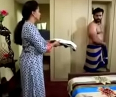 South Indian TV male lead forbidden exposed at hand lingerie at hand a TV front